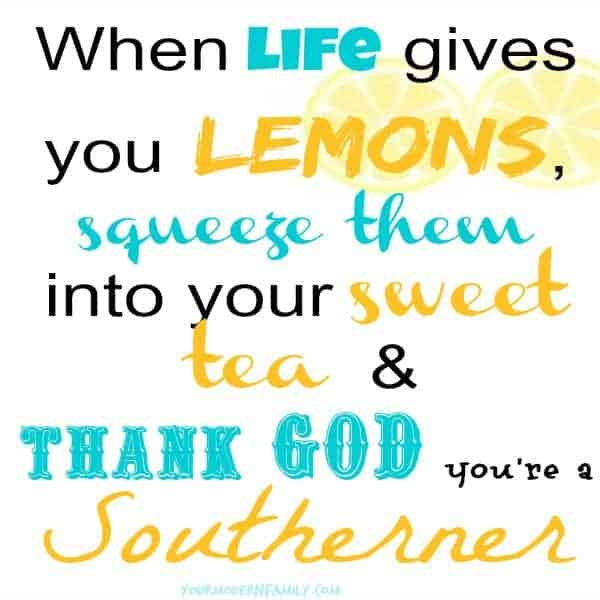 When life gives you lemons, squeeze them into your sweet tea & thank God you're a Southerner!