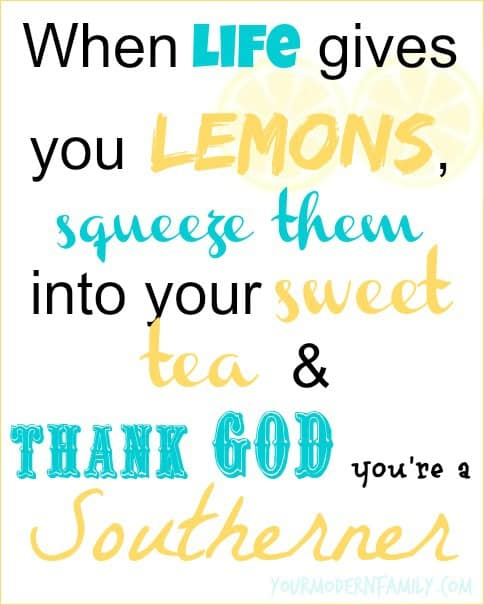 When life gives you lemons, squeeze them into your sweet tea & thank God you're a Southerner
