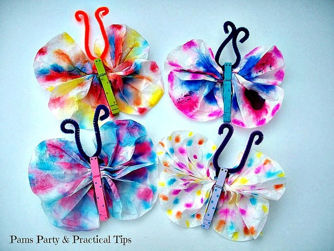 Butterfly crafts with coffee filters
