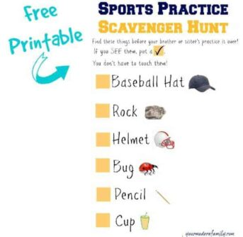 free printable - sports practice scavenger hunt for younger siblings