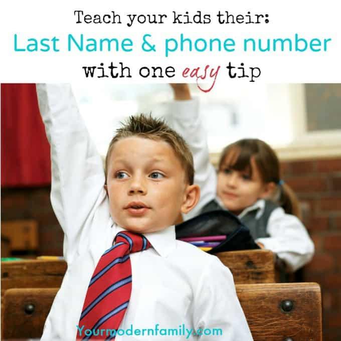teach my kids their name & phone number