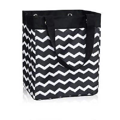 A close up of a large reusable shopping bag with a chevron design.