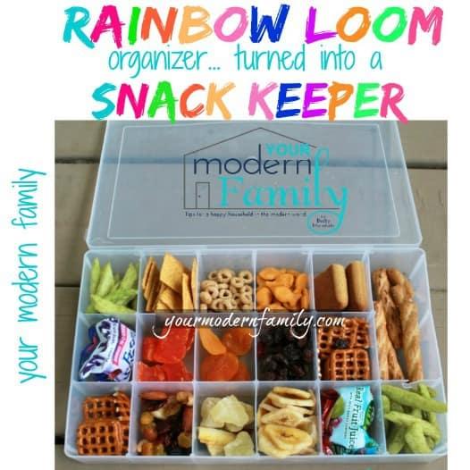 rainbow loom organizer turned into a snack keeper