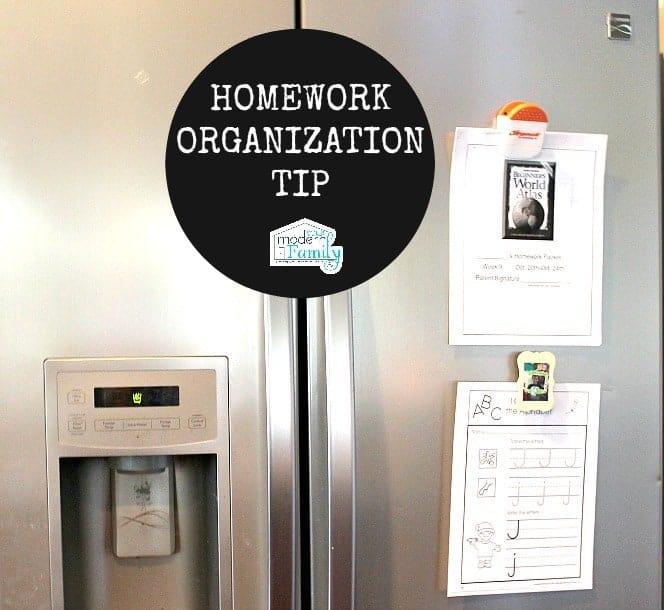 homework organization tip - yourmodernfamily.com