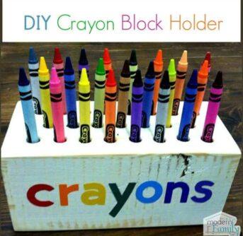 A close up of a DIY crayon block holder.