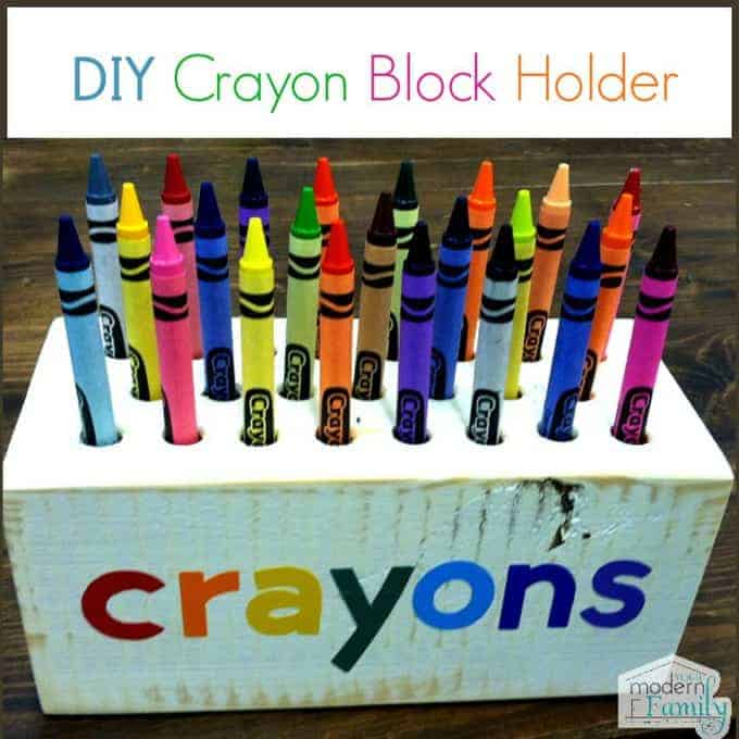 A close up of a DIY crayon block holder.