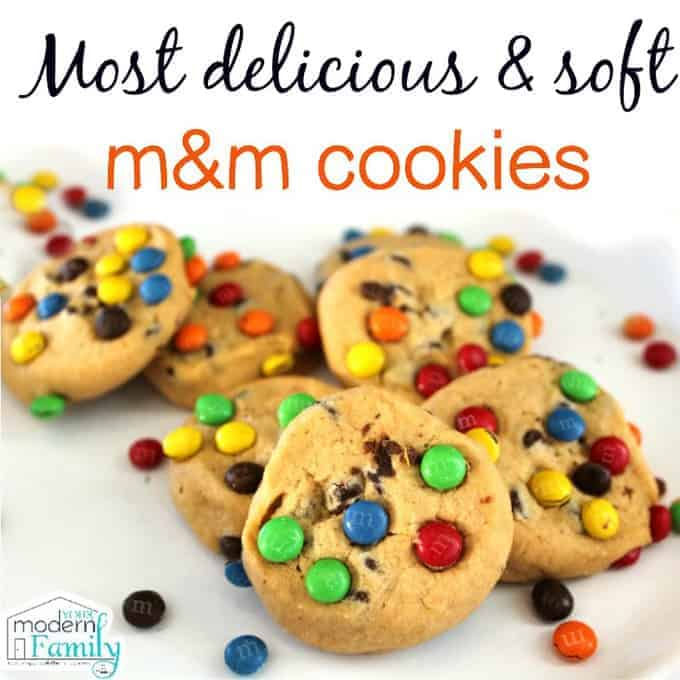 M&M cookies with text above them.