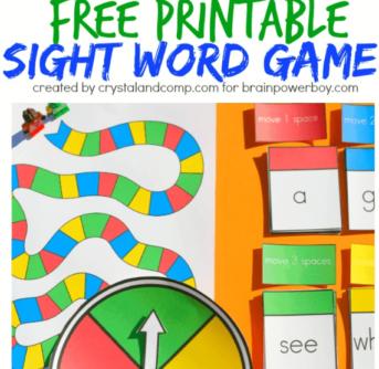 Printable sight word game advertisement.