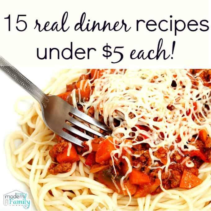 real dinner recipes under $5 each