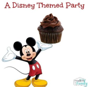 Mickey Mouse holding a cupcake