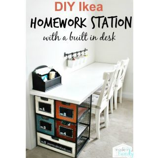 DIY Ikea homework station (with build in desk!)