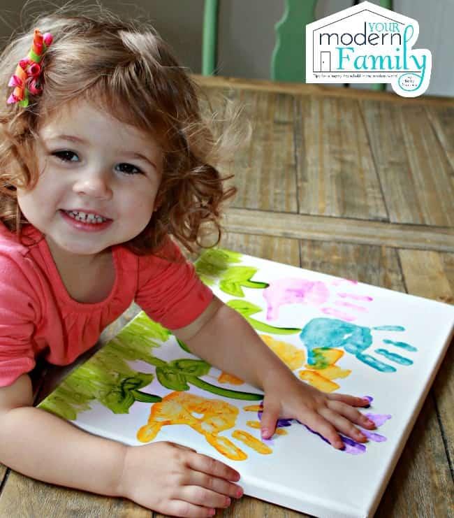 diy handprint flower painting