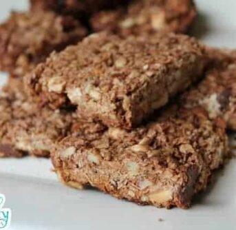 A plate of homemade Granola bars.
