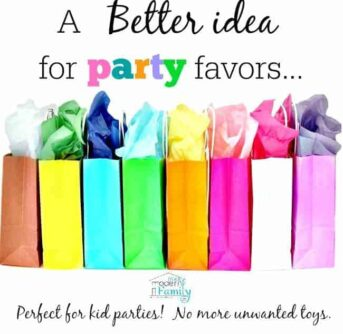 A group of colorful gift bags with text above them.