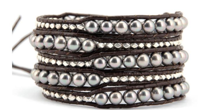 Delicate Gray Shell Pearl Wrap Bracelet
