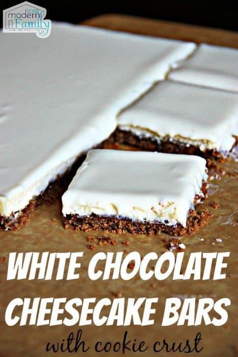 White Chocolate Cheesecake Bars with Biscoff Cookie Crust