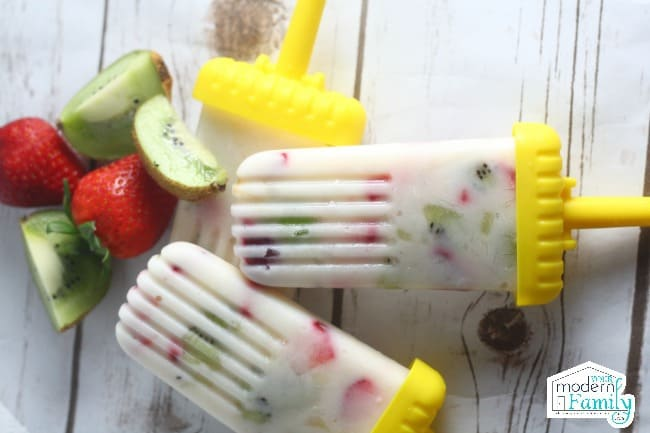 Closeup of fruit popsicles.