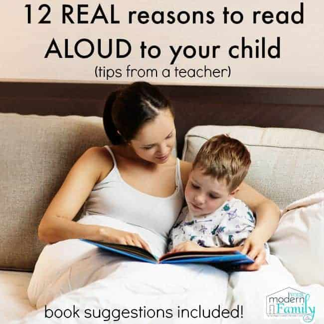 A woman sitting on a bed reading a book to a little boy with text above them.