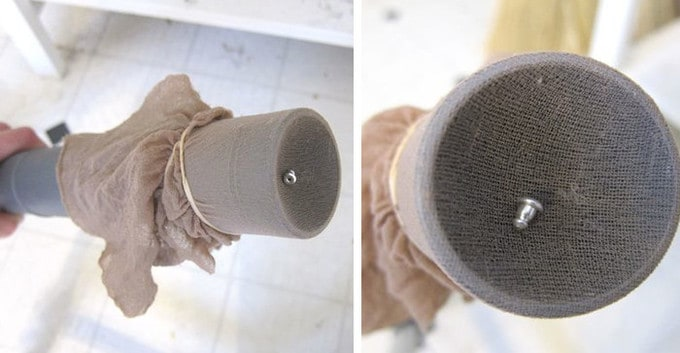 Two pictures of a vacuum hose covered with pantyhose and rubber bands.