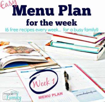 Your Modern Family's weekly Menu plan- week 1