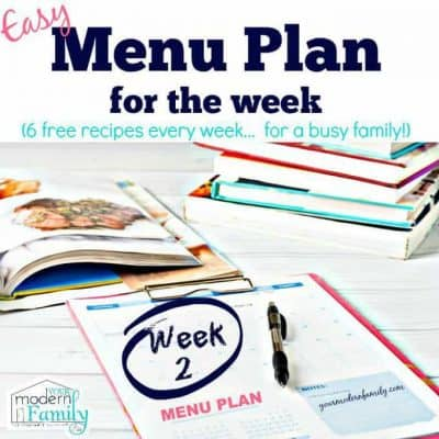 menu plan (free) week 2