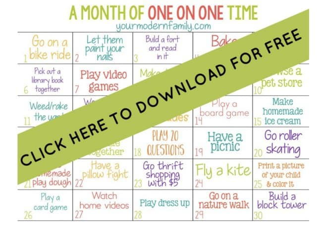 A close up 30-day printable calendar to spend one on one time with child