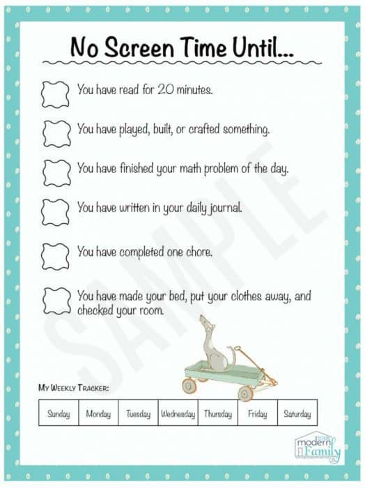 No Screentime Until free printable chart