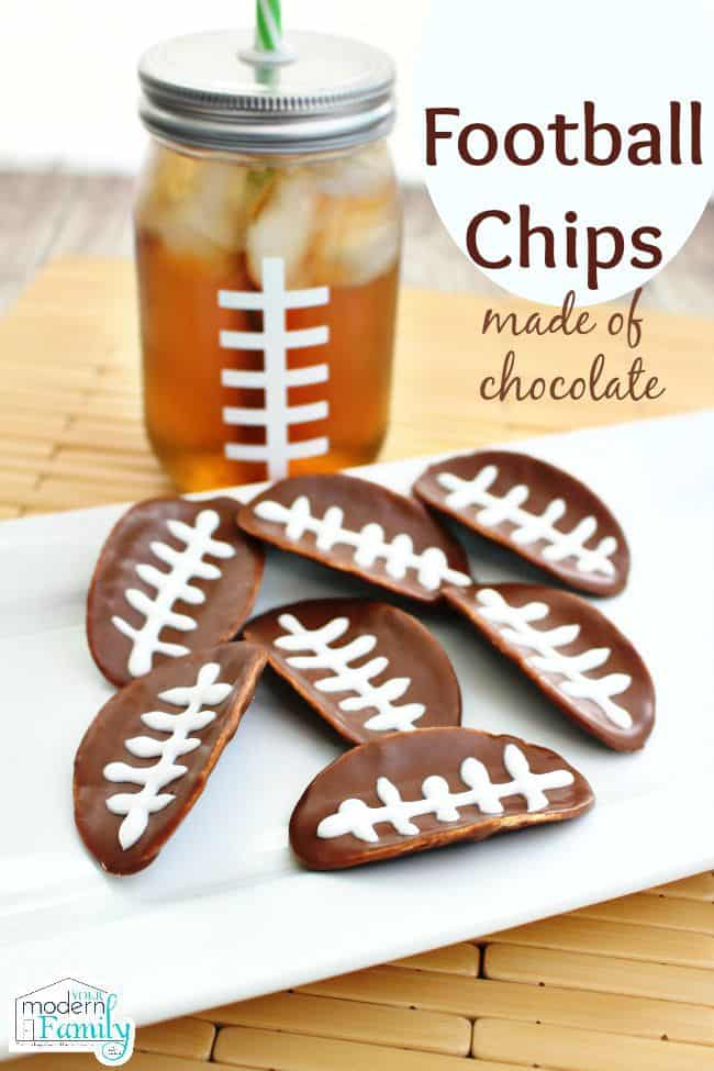 Pringles Football Chips in melted chocolate
