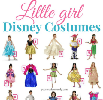 Numerous girls dressed in Disney Costumes with text above them.