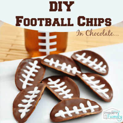 diy football chips in melted chocolate - football pringles