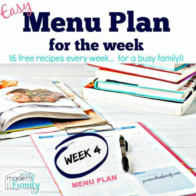 easy menu plan week 4