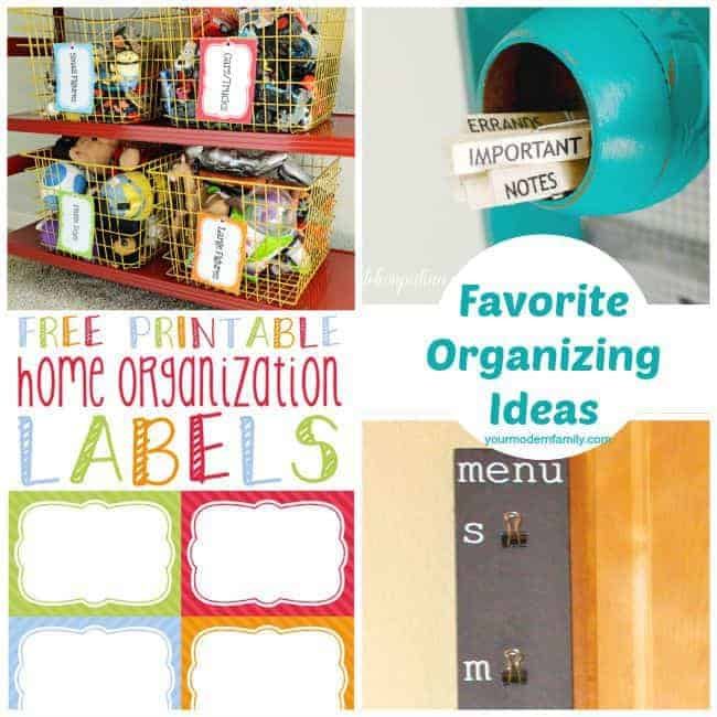 Four pictures of organizational hacks with text.