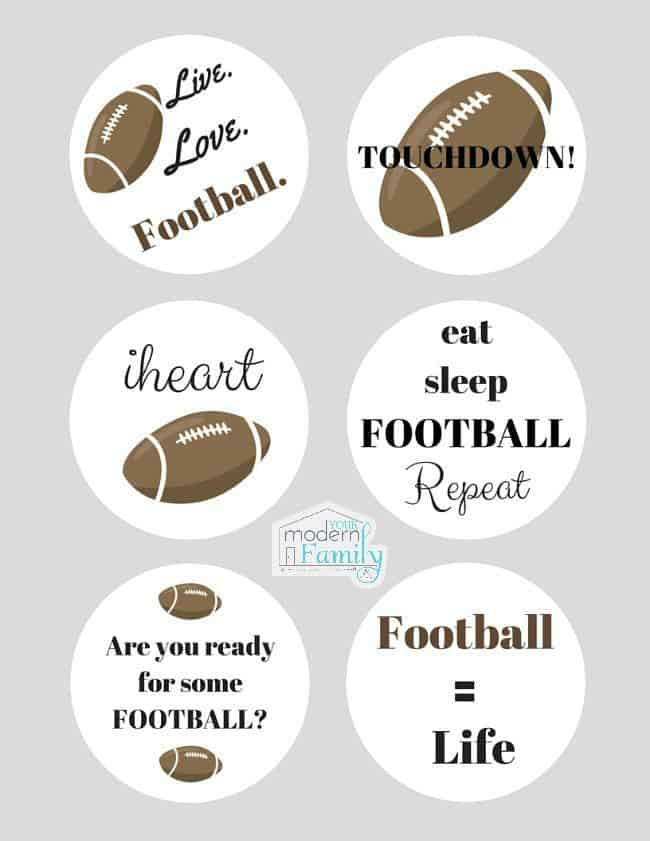 Enjoy these FREE football cupcake toppers. Add some fun to your next tailgating party by decorating your cupcakes for game day