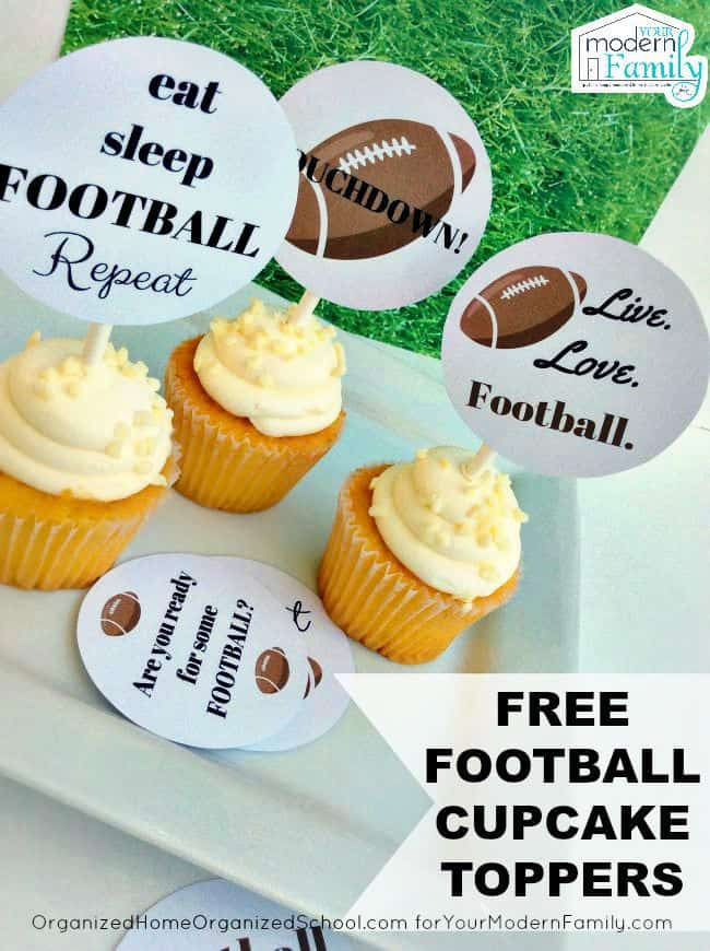 Cupcakes with  straws holding decorative football toppers.