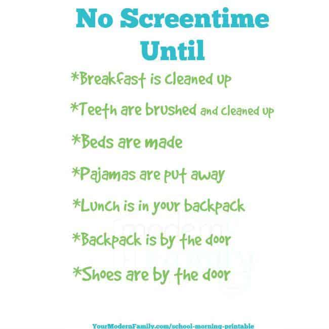no screen time until free printable