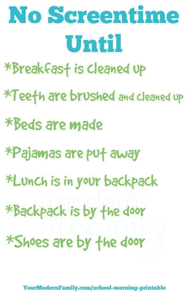 List of chores on a piece of paper.