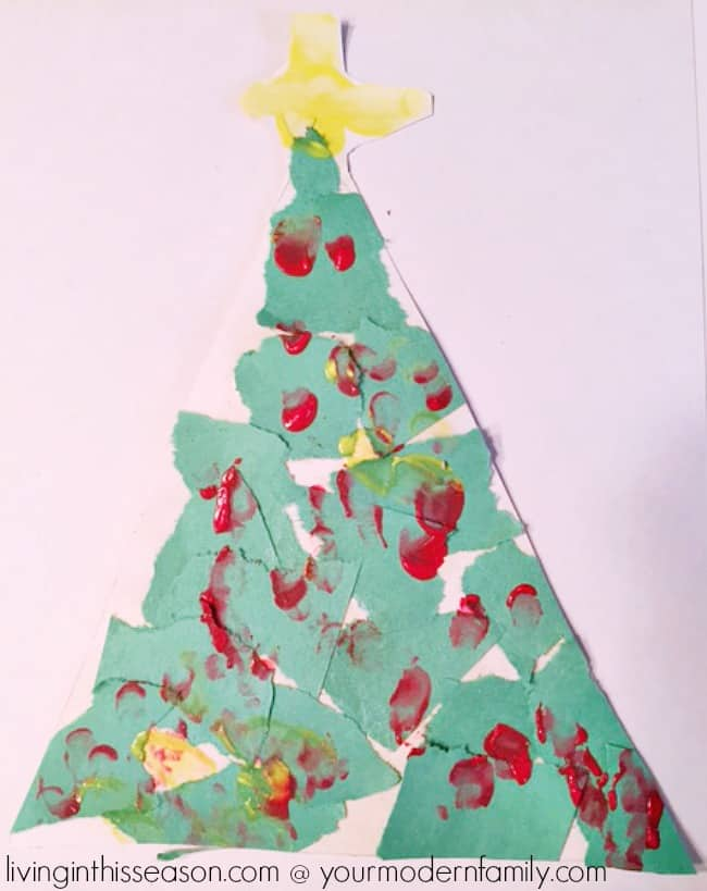Torn Paper Christmas Tree is a fun craft for all ages