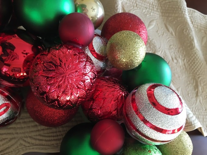 A variety of colorful Christmas ornaments.