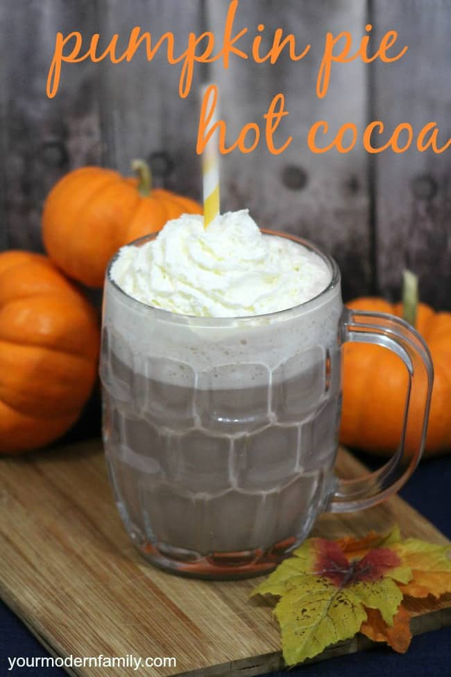 A glass mug of Pumpkin Pie Hot Chocolate with pumpkins resting behind it with text above it.