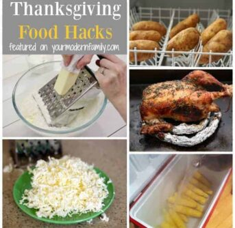 A collage of a variety of Thanksgiving themed foods with text.