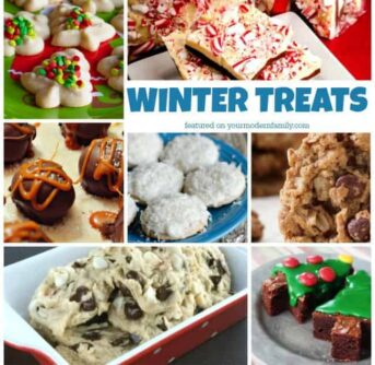 A collage of winter treats with text in the middle.
