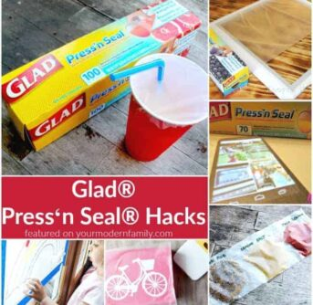 A close up of hacks to use Glad Press and Seal.