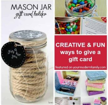 A collage of fun ways to give a gift card.