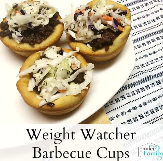 Barbecue cups with text below them.