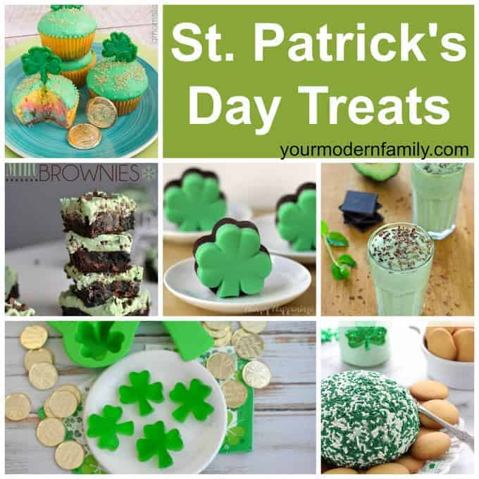 A collage of St. Patrick's Day treats.