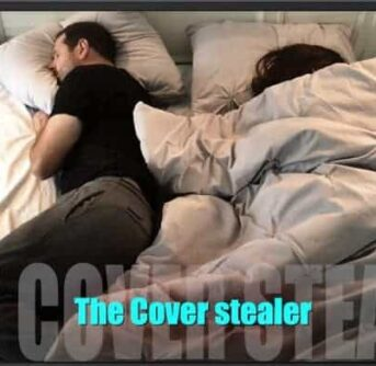 Two people lying in bed, one person covered up and one with out covers with text below them.