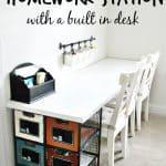 Love how budget-friendly and easy this is to make this Ikea Homework Station. #ikeahack #ikea #homeworkstation #desk #desksetup #homeworkroom