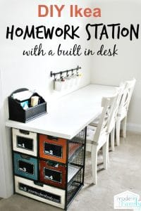 Love how budget-friendly and easy this is to make this Ikea Homework Station. #ikeahack #ikea #homeworkstation #desk #desksetup #homeworkroom