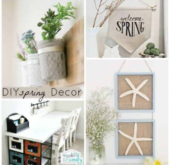 A variety of pictures of spring decor around the house.
