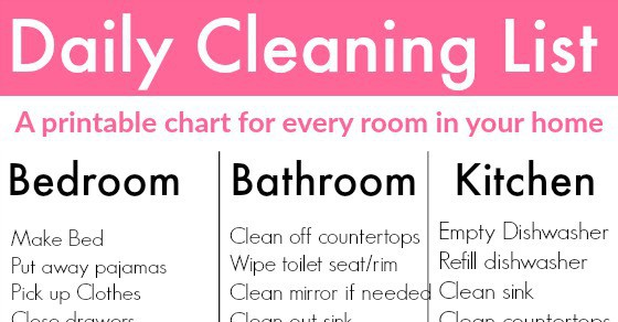 Daily Cleaning List To Clean Every Room